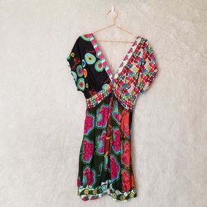 Desigual Multi Patterned Deep V-Neck Mini Dress
